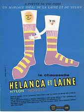 PUBLICITE ADVERTISING  1957   HELANCA & LAINE  chaussettes
