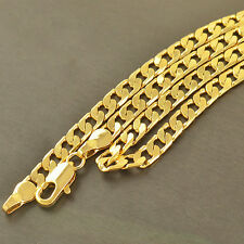 Free Shipping 18K Gold Filled Womens Mens Cuban Curb Chain Necklace 600*4mm