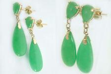 Jade Ohrstecker - Ohrhänger Gold 585 und Jade Goldohrstecker - Ohrringe Gelbgold