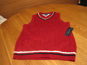 Boys youth Sweater vest pull over V neck sleeveless Tommy Hilfiger XL 20 red NEW