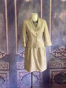 Talbots Natural Linen Beige Sparkle Skirt Suit SZ 8 Career Summer Blazer Pleated