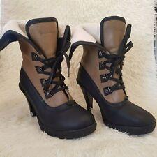 Golddigga Womens Lace Up Ankle Heel Boots UK 6 EU 39.5 Black Tan Faux Sheraling