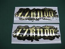 2 ZZR1100 RELENTLESS STYLE STICKERS MIRROR GOLD ON BLACK