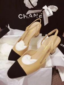 CLASSIC CHANEL 38 7.5 Two-Tone Beige pumps leather Slingback Pumps SHOES sandals