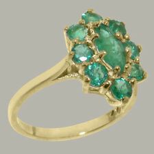 Solid 14ct Yellow Gold Natural Emerald Womens Cluster Ring - Sizes J to Z