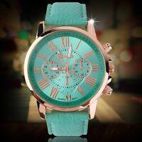 Geneva Fashion Casual Stylish Numerals PU Leather Quartz Analog Wrist Watch XP