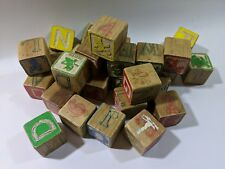 Vintage Toy Wood Wooden Alphabet Blocks Disney ABC's Pictures Characters Letters