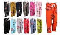 New Ladies Italian Floral Elastic Waist Trouser Women Linen Trouser Plus Sizes