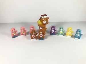 """Lot of 9 TCFC Care Bears 1.75"""" Mini Figures Cake Toppers One Ornament"""