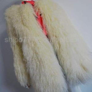 EXQUISITE REAL TIBETAN MONGOLIAN LAMB LONG CURLY HAIR/ SHEEP FUR COAT FUR BEIGE-