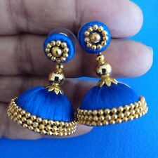 Handmade Fashion Indian Party wear Blue Silk Thread Earrings Jhumka Jhumki