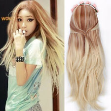 Lolita Blonde Ombre Long Straight Full Wig Womens Part Bang Gradient Wig Costume