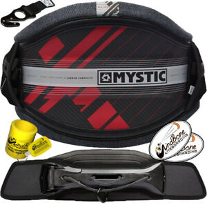 2020 Mystic Majestic X Carbon Shell Kiteboarding Harness Red w Stealth Surf Bar