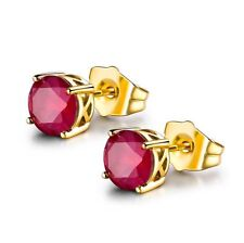 Pretty New Yellow Gold Filled Round 4 Prong 7mm Ruby Red CZ Stud Earrings