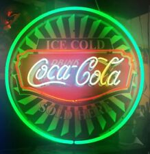 "New Drink Cold Coca Cola Neon Light Sign 24""x24"" Lamp Poster Real Glass"