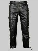 Men's Real Leather Pants Side Laced Up Bikers Jeans Pants 100% Lambskin Leather