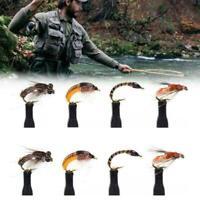 8Pcs 12 Grey Black Hare's Ear Nymph Fly Trout Fishing Classic D1V2 A4I9 Bai Q6S8