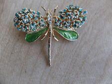 Vintage Kirks Folly Dragon Fly Crystals, Enamel And Rhinestone Gold Tone