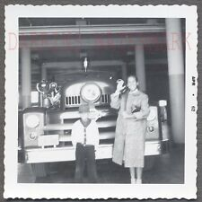Vintage Photo Woman & Cute Boy w/ Seagrave Fire Truck at Station 698846