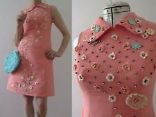 60s Watermelon Pink Go Go Shift Dress Floral Applique XS 3+ items for FREE Post