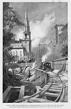 RAILROAD LOCOMOTIVE STREET CARS BOSTON SUBWAY CONSTRUCTION EXCAVATING HISTORY