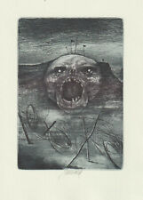 "Original etching ""Horror"" by JANECEK JAMES / Czech"