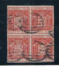 España. Isabel II. Bloque de cuatro del 2 reales usados.Lujo
