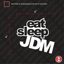 2x EAT SLEEP JDM sticker WHITE vinyl funny decal
