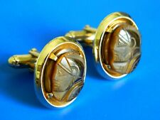 VINTAGE MARKED ANSON TIGER EYE ROMAN CAMEO MEN CUFFLINKS GOLD PLATED JEWELRY