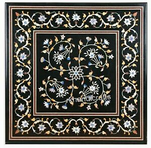 21 x 21 Inches Marble Patio Coffee Table Inlay with Beautiful Art Center Table