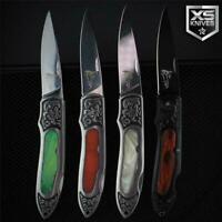 COWBOY Western Series Lockback Stainless Folding Pocket Knife Ornate Bolster