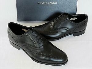 NEW Gieves & Hawkes Black Leather Brogues Wingtips Shoes UK 8.5 EU 42.5 RRP £350