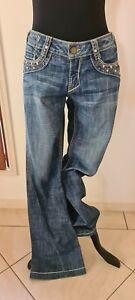 BEBE (USA) Flared Womens Jeans With Swarovski & Rhinestone Embellishment Size 29
