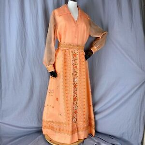 Vtg Alfred Shaheen Floral Hawaiian Dress Size 14 Belted Sheer Sleeves Made USA