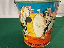 1930's Ohio Art Mickey Mouse Disney MICKEY'S BAND Tin Litho Sand Pail Toy