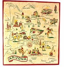 Arizona Map Vintage Textile Fabric Stretched 1940s