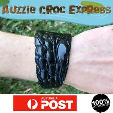 Authentic Australian Saltwater Crocodile Skin Wrist Band Wide - Black