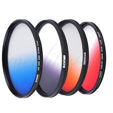 52mm Ultra Slim Graduated Grey Blue Orange Red Filter Kit for Canon Nikon Camera