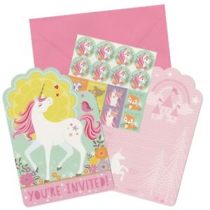 MAGICAL UNICORN BIRTHDAY PARTY SUPPLIES INVITATIONS INVITES (PACK OF 8)