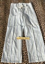 French 1930s Men Pajamas Pants~Soft Flannel Cotton~Blue & White Stripes~New~M/L