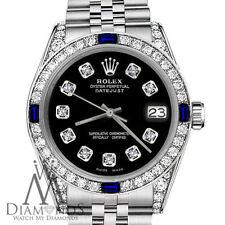 Ladies Rolex 26mm Datejust SS Black Dial with Sapphire & Diamond Bezel Watch