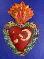 El Corazon Heart Doves & Moon 3D Mexican Handmade Painted Tin Milagro 10.5x7 R3