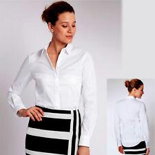 New M&S Slim Fit COTTON Blend LADIES Long Sleeve SHIRT ~ Size 20 ~ WHITE