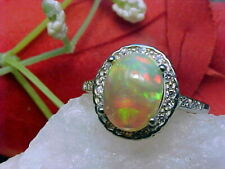🔥 NATURAL ETHIOPIAN OPAL RING AAA+++ 10x8mm & WHITE SAPPHIRE 925 SS