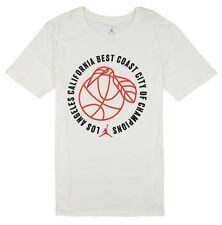 JORDAN Best Coast City of Champions T-Shirt sz S Small White Orange Los Angeles