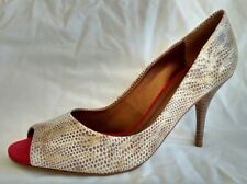 Biondini Womens Ladies Gold Snake Croc Print PEEP Toe Court Shoes Size 7/40