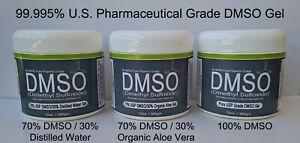 99.995% Pure Pharma Grade DMSO Dimethyl Sulfoxide Gel 100% or 70%/30% Aloe Vera