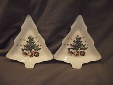 Set of 2 Nikko Happy Holidays Tree Shaped Dishes/Plates