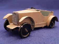 "Vintage Pre War Tin MG M Type Boat Tail Roadster Model Car 6 1/2"" Beige RARE"