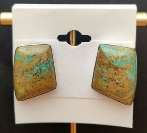JAY KING Red Skin Turquoise Quadrilateral Sterling Silver Button Earrings - NWT